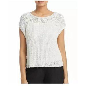 Eileen Fisher white bateau neck box T-shirt top